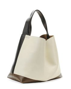 Marni Tricolor Leather Hobo Bag, Nude/Dark Gray