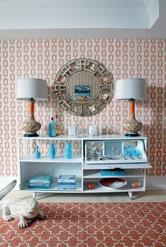 Design firm Mabley Handler Interior Design featured Chain link 5153 Orange on Ivory Manila Hemp on walls of the pool lounge in the 2010 Hampton Designer Showhouse.