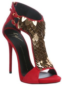 Giuseppe Zanotti passion red suede 'Coline' scale embellished t-strap sandals http://www.trish120.wordpress.com