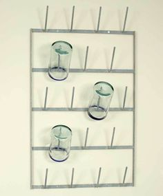 French Style Drying Rack Glass Bottle Mug Holder Metal Wall Mount Fixer Upper #ScarlettScalesAntiques