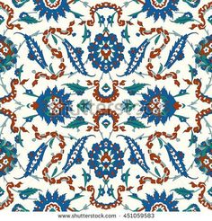 Traditional  Arabic ornament seamless for your design. Floral Ornamental pattern. Iznik . Vector.  Background