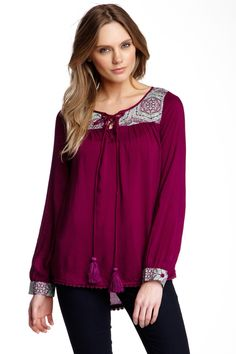 Very J | Printed Yoke Blouse | Nordstrom Rack