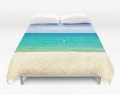 Beach duvet, Beach bedding, Beach decor, Dreamy beach, Blue sea duvet, Summer bedding, Blue duvet, Ocean duvet cover, Nautical, White sand
