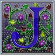 Blue J Letter & Purple Flowers with Blue Centers, Red, Yellow & Green Heart Shaped Leafs on Ivy Vines. Monogram Graphic pictorial alphabet digital edit.
