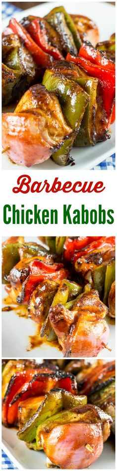 These grilled Barbecue Chicken Kabobs and vegetables are skewered ...