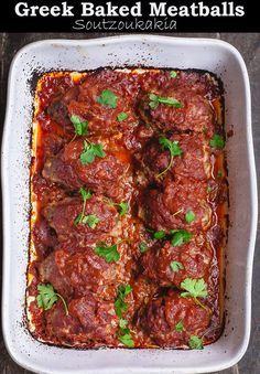 Extra juicy, flavor-packed baked meatballs prepared Greek-style w/ aromatics, fresh herbs, a special blend of warm spices & the BEST tomato sauce Easy Mediterranean Diet Recipes, Mediterranean Spices, Greek Meatballs, Greek Dishes, Main Dishes, Cooking Recipes, Healthy Recipes, Cooking Fish, Cooking Bacon