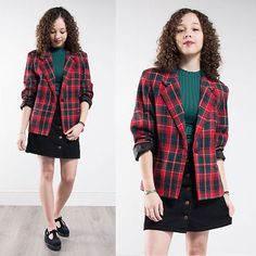 Womens Vintage Red Tartan Check Plaid Wool Blazer Jacket Casual 80's Clueless 14