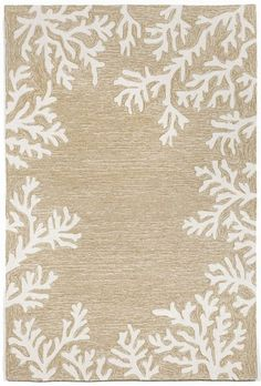 Off-white branch coral designs make up the border of this Coral Bordered Beige beach house indoor or outdoor area rug.  An elegant driftwood, sea-washed look to add to any room in your home!