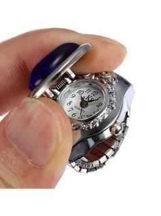 Oval Sapphire Rhinestone Ring Watch