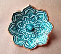 Malachite Green Lotus incense holder