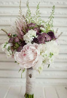 Unique Bridal Bouquet Composed Of: Light Pink Peony, White Peony, White Delphinium, Purple Astrantia, Pink & White Astilbe & Green Astilbe****