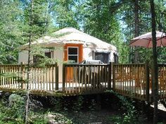 Saskatchewan cabin rental - Exterior of Yurt. Could do one large family deck to join MULTIPLE yurts.