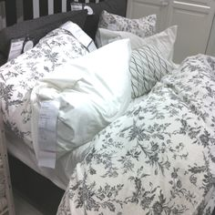 Bedding my room is based on! Ikea ALVINE KVIST gray floral duvet cover $29.99 Queen $39.99 King