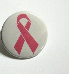 Pink Ribbon Pinback Button by BayleafButtons on Etsy, $1.10