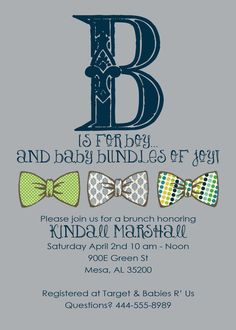 Baby boy shower invitation b is for boy with bow by katiearichards, $13.00