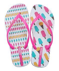 White & Pink Unique Flip-Flop - Kids