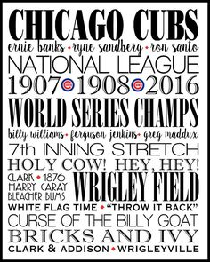 Cubs, Chicago Cubs, World Series, Print, Subway Wall Art, Typography, Graduation Available in Canvas, other colors ,sizes & colleges by dreamweaverprints on Etsy