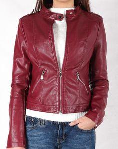 Hằng Jeans - Áo khoác da nữ màu đỏ đun chất chơi 8765-00. Giá: 859.000 đ