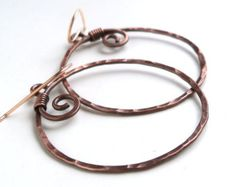 Hammered Copper Hoop Earrings, Rustic Antiqued Copper Hoops