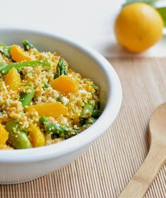 Fresh and Delicious Spring Salads - Couscous Salad with sliced oranges and feta cheese