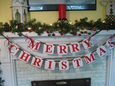 Merry CHRISTMAS Banner Holiday Mantle Garland Holiday Photo Prop Vintage Inspired Holiday Banner  $25 on Etsy