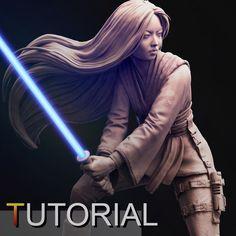 Female Jedi, Guillaume Tiberghien on ArtStation at https://www.artstation.com/artwork/2a9Xa