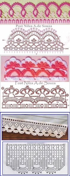 Many Free crochet edging diagram, chart patterns. by milagritos Crochet Boarders, Crochet Lace Edging, Crochet Diagram, Crochet Chart, Thread Crochet, Crochet Doilies, Crochet Flowers, Crochet Stitches, Crochet Edgings