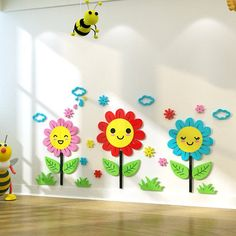 Nice sunflower wall sticker for kids bed room living room kindergarden wall decoration 3d Mirror Wall Stickers, Wall Stickers Home Decor, Church Nursery Decor, Sunflower Wall Decor, Dining Room Wall Art, Letter Wall Art, Game Room Decor, Kid Beds, Colorful Decor