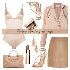 """""""The Prettiest Underpinnings"""" by the-geek-goddess ❤ liked on Polyvore featuring La Perla, Gianvito Rossi, Olympiah, River Island, Clarins, Balenciaga and Avon"""