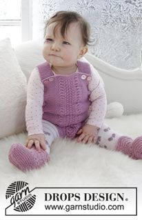 Baby - Free knitting patterns and crochet patterns by DROPS Design Baby Knitting Patterns, Knitting For Kids, Baby Patterns, Free Knitting, Crochet Patterns, Drops Design, Baby Romper Pattern Free, Crochet Design, Drops Baby