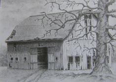 Barn pencil drawing - Gone But Not Forgotten - rustic rural landscape old oak tree graphite illustration m3DrawingsPlus shadow box art. $225.00, via Etsy.
