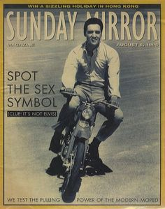 ELVIS PRESLEY Sunday Mirror (1995 UK 40-page magazine from 6th August, features an article about mopeds and features a superb black & white cover photo of Elvis riding a moped. Super cover picture