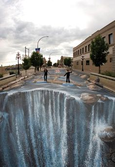 Sidewalk Chalk Art Beautiful waterfalls illusion