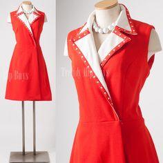 Mod Dress Vintage Red Dress Holiday Dress by TrendyHipBuysVintage