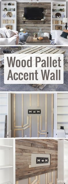How to Create a Wood Pallet Accent Wall. Drastically change the look and feel of your living room with a beautiful wood pallet accent wall. Using pallets makes this home makeover so inexpensive and easy to DIY! Pallet Accent Wall, Pallet Walls, Pallet Tv, Wood Accent Walls, Pallet Wall Bedroom, Reclaimed Wood Accent Wall, Pallet Room, Pallet Wall Decor, Diy Wood Wall