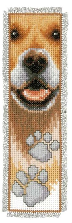 Dog Pet Paws Bookmark, counted cross-stitch