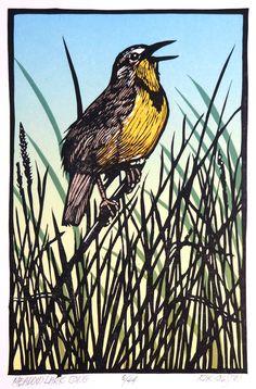 Meadow Lark Song ~ Linocut, 6 x 9 inch ~ Rik Olson