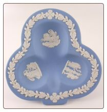 Wedgwood Blue & White Jasperware Club Shape Ashtray