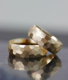 his hers wedding band set, honeycomb womens wedding band, mens wedding ring, unique alternative faceted wedding band, handmade in seattle
