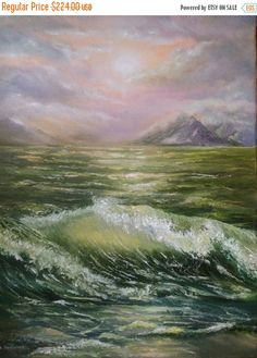 Original oil painting landscape Raging sea от svetlanamatevosjan