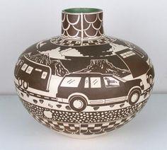black and white - vase - cars - Diego Romero - ceramic