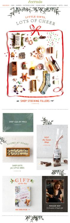 Little #gifts with lots of cheer-- see all our favorite #stocking #stuffers at #shopterrain December 8 (Pour Feliciter New Years)