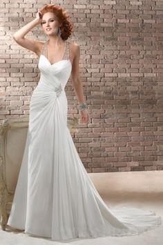 Beaded Halter Chiffon Wedding Dress with Illusion Low Back   LynnBridal.com