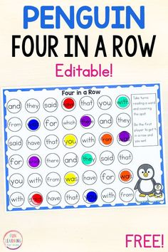 A free editable sight word game for kindergarten, first grade, and second grade. This printable game is perfect for sight words, math facts, letters a Preschool Sight Words, Teaching Sight Words, Sight Word Activities, Kindergarten Sight Words List, Work Activities, Second Grade Sight Words, Dolch Sight Words, First Grade Games, First Grade Reading