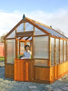 The Northern Heritage is a super-insulated cedar greenhouse manuctured here in the United States. It has both great beauty and function with a double dutch door, insulated polycarbonate glazing, and an insulated cedar pony wall. Greenhouse Shed Combo, Home Greenhouse, Small Greenhouse, Greenhouse Gardening, Greenhouse Ideas, Traditional Sheds, Green House Design, Beautiful Front Doors, Front Door Design