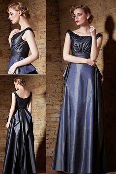 Modern Blue Satin Bateau A Line Sequins Floor Length Prom Dress