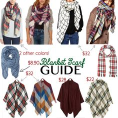 Blanket scarf round-up starting at just $8.  Also click to watch a tutorial on 6 ways to wear your oversized scarves! #HelloGorgeous