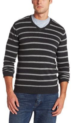 Charcoal Horizontal Striped V-neck Sweater by Haggar. Buy for $15 from Amazon.com