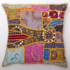 Indian Beaded Embroidery Decorative Floor Cushion - Buy Indian ...