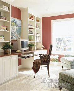 Home Office, built-in bookcases with desk area. Not enough work surface though. - forthehome